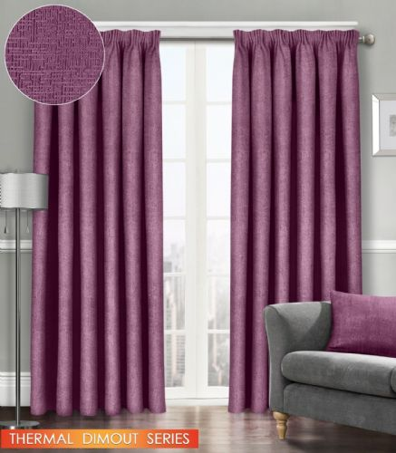 SEMI PLAIN READY MADE THERMAL WOVEN MATERIAL DIMOUT PENCIL PLEAT PAIR CURTAINS MAUVE COLOUR